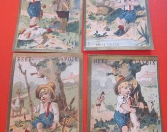 4 antique french advertising chromo 1885