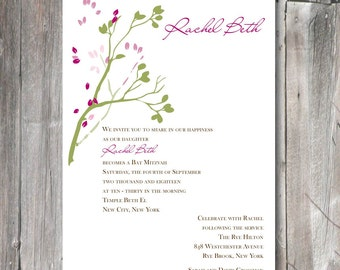 Bat Mitzvah Invitation - tree branch with cranberry and green leaves (BM1221)  for personalized digital download or print