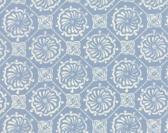 Horizon Fabric, Slate Atmosphere  by Kate Spain for Moda Fabrics. Mediterranean themed fabric in blue/grey