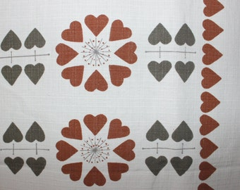 Cute vintage retro mid century 60s pair of Curtain lengths printed with hearts in brown & gray. Made in Sweden Scandinavian.