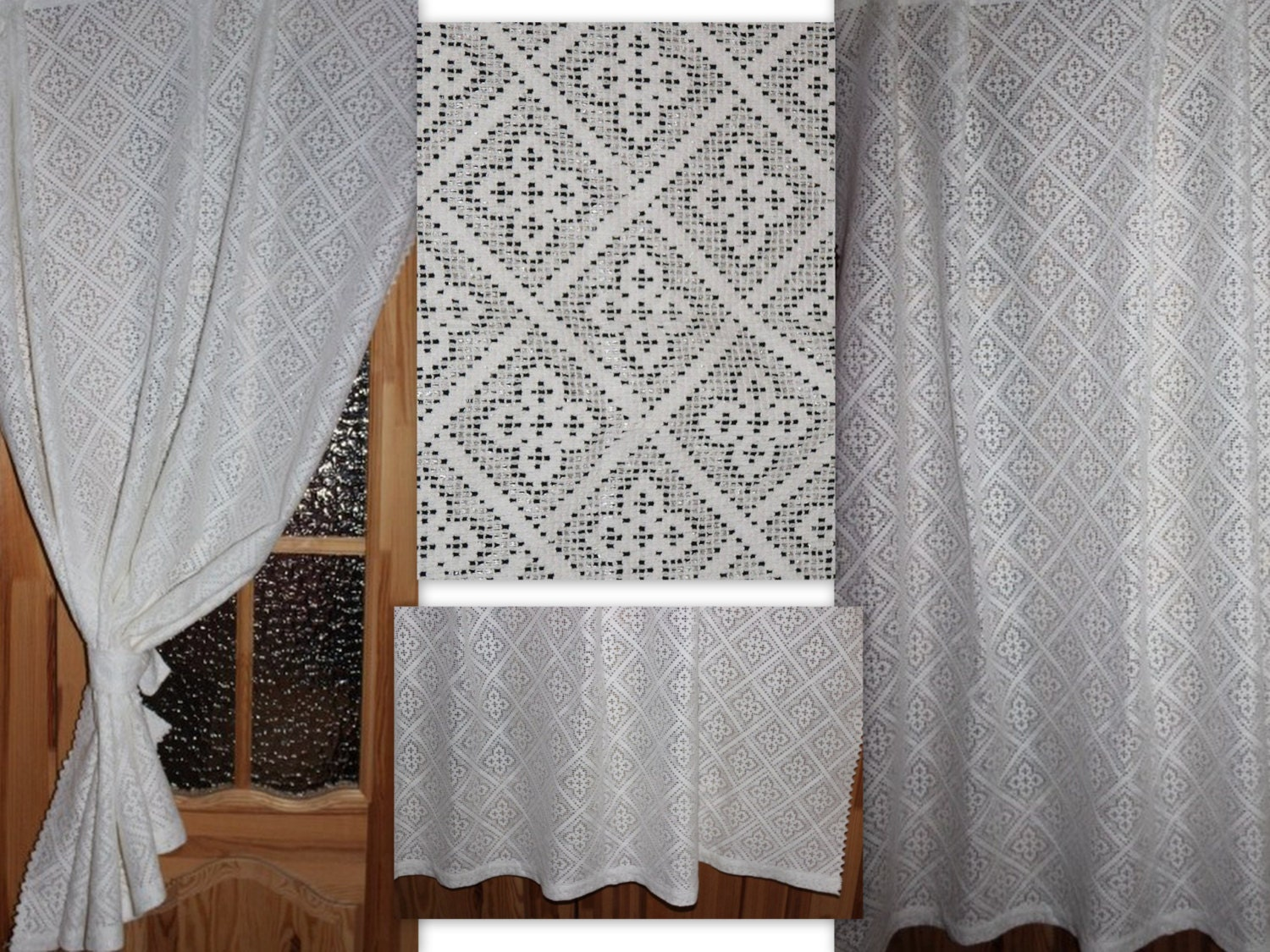 vintage cotton lace curtain panel shabby chic 194 cm x 150