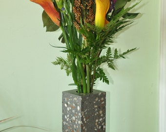 concrete flower vase