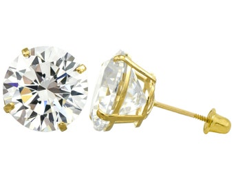 10K Gold Round Cubic Zirconia (CZ) Double Basket Screw Back Stud Earrings - 2 mm to 10 mm