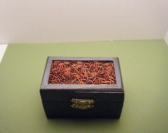 Small Black Box - Wood Box - Hand painted - Trinket Box - Gift Box - Jewelry Box - Box 34