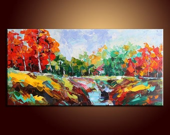Landscape Painting Original Painting Large Painting Oil Painting Abstract Art Impasto Texture Oil Painting Palette Knife Oil Painting