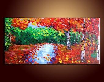 Large Original Painting Autumn Forest Landscape Painting Abstract Art Impasto Texture Palette Knife Oil Painting Large Painting Oil Painting