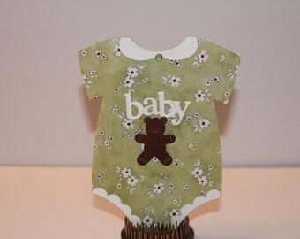 Handmade die-cut Baby Card in neutral green