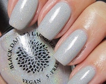 Silver Micro Glitter with Shimmer Nail Polish by Black Dahlia Lacquer - Silver Lotus -- Holiday Collection