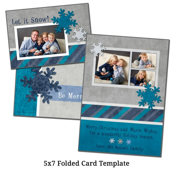 "Items Similar To 5x7"" Folded Christmas Card Template"