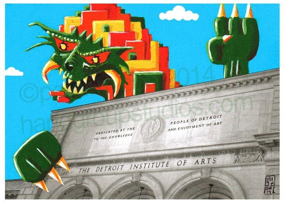 "Detroit Kaiju DIA Art Monster 5x7 Print ""Sanaamash Emerges"" Original Art Print by Pete Coe"