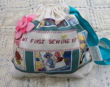 My First sewing Kit  / a fun starter set for children /in sew retro patchwork/kids sewing set/handmade sewing bag for crafty kids