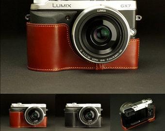 Panasonic Lumix GX7 Case, Panasonic GX7 leather cameras case, Half Leather Camera Case