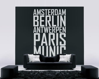 Wall sticker ' European cities '