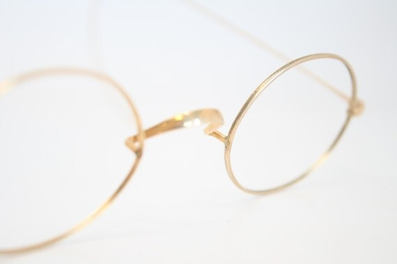 Items similar to Riding Temple Eyeglasses Antique Gold ...