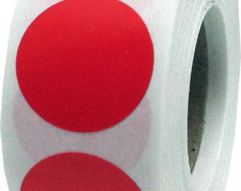 500 Red Dot Stickers - 0.75 Inch Round Adhesive Labels