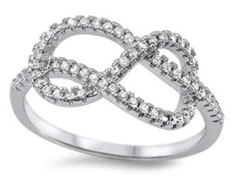 Infinity Knot CZ Ring Sterling Silver 925