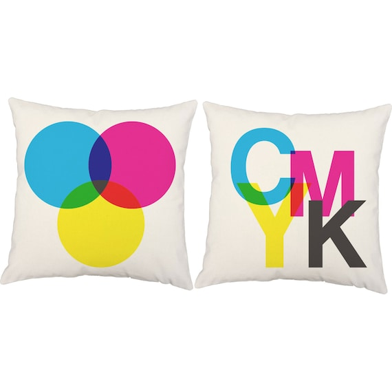 CMYK Throw Pillows - Graphic Design Pillow Covers and or Cushion Inserts - Computer Pillows ...