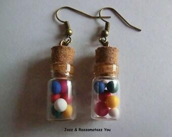 Handcrafted Mini Gumball Glass Bottle Earrings