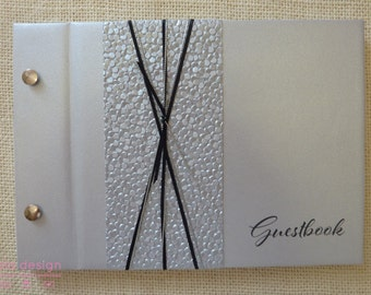 """Guest Book A5 """"Silver Pebble"""" for Weddings, Engagements, Birthdays"""