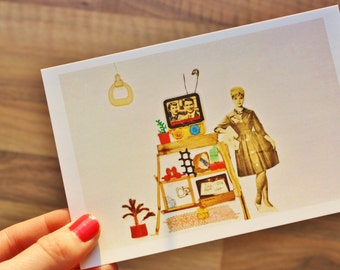 Postcard ''Woman with TV'': upcycled vintage beach-trash design