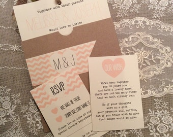 1 Vintage/Shabby Chic Style 'Melissa' Wedding Invitation Sample-various colours