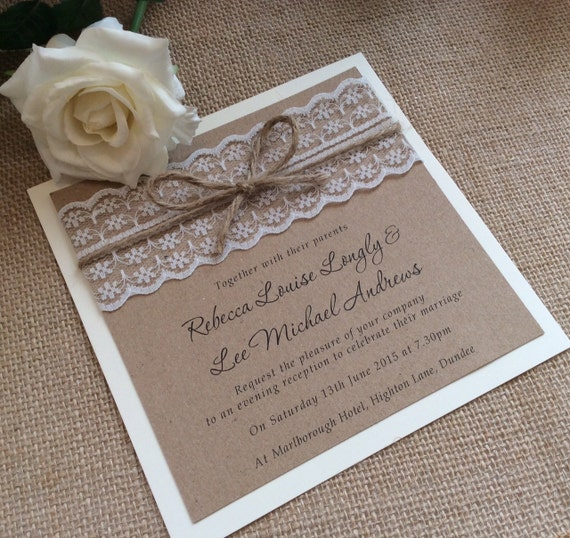 Wedding Invitations With Lace: Vintage/Rustic Lace Wedding Invitation With Twine Rebecca