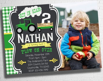 Tractor Birthday Invitation, Get in Gear! ! first, second,third Birthday Invite birthday party, farm birthday,  party invitation printable,
