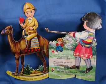 Vintage Die Cut Mechanical Valentine Greeting Cards - Made in Germany
