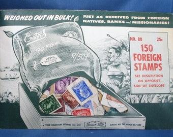 Vintage Honor-Bilt No., 80 - 150 Foreign Stamps Envelope