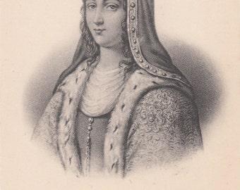1910 Postcard French Royalty Jeanne de Bourgogne 1293  Unused Biography Below Image
