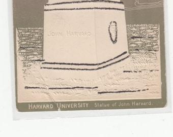 C1905 Embosssed,With Glitter Harvard University  Statue Of John Harvard