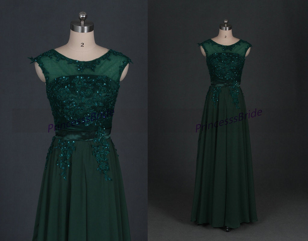 Latest floor length chiffon prom gowns with laceaffordable for Forest green wedding dress