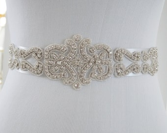 Wedding Belt, Bridal Belt, Bridal Sash Belt, Crystal Rhinestone Belt, Style 217