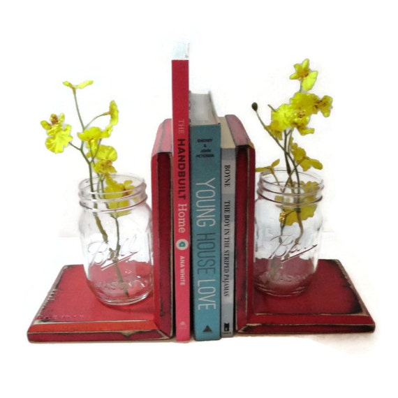 Mason jar bookends choose your color rustic wood shabby for Mason jar bookends