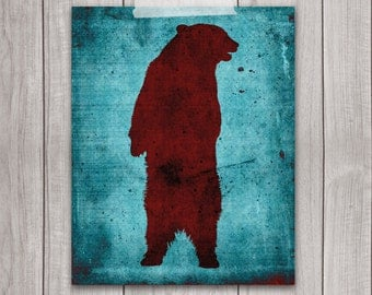 75% OFF SALE - Grizzly Bear Art Print - 8x10 Animal Print, Wall Art, Red, Animal Art, Home Decor