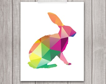 75% OFF SALE - Bunny Rabbit Art Print - 8x10 Geometric Animal, Printable Art, Animal Silhouette, Wall Art, Animal Art, Home Decor