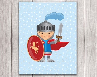 75% OFF SALE - Knight Art - 8x10 Baby Boy Nursery Art, Fairy Tale Art, Knight Nursery, Nursery Decor, Nursery Wall Art