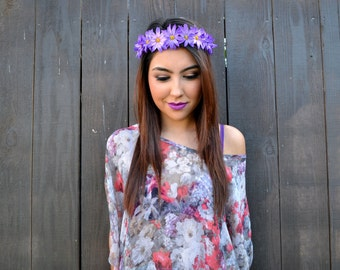 Flower Headband - Daisy Headband - Purple Daisies - Hippie Headband - Festivals - Raves - Summer Fashion