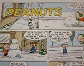 4x6 Small Charlie Brown, Building Snowmen, winter fun, Retro, Cartoon, 1950's - 1970's, Charles M Schulz, Frame and Matte for Desk Decor