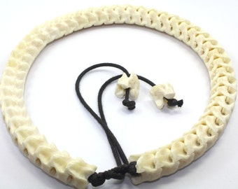Real Genuine Snake Spine Bone yellowish-white, Necklace Tribal Ethnics Biker XL Size