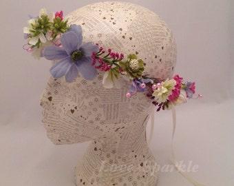 Handmade Unique Headband, Flower Garland, Wedding Crown Hairband, Festival Crown, Floral Headband, Flower Headband, Country Flower Headband