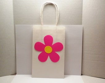 Gift Bag-Pink Daisy Gift Bag, Bags, Gift, Showers, Shower Gift Bag, Wedding Gift Bags, Pink Flower, Pink, Flower