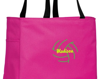 Personalized Volleyball Tropical Pink Essential Tote with FREE Personalization & FREE SHIPPING    B0750