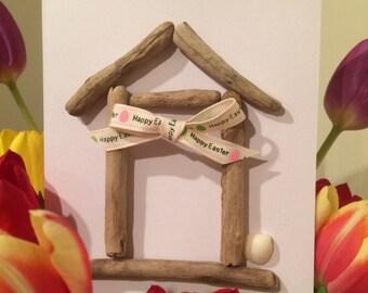 Handmade Driftwood Beach Hut Easter Card