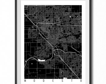 MODESTO Map Art Print / California Poster / Modesto Wall Art Decor / Choose Size and Color