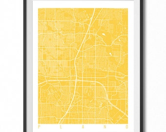 PLANO Map Art Print / Texas Poster / Plano Wall Art Decor / Choose Size and Color