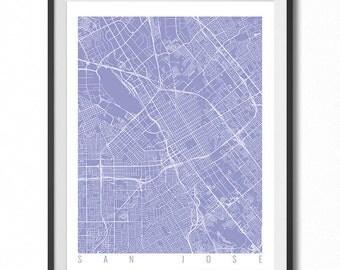 SAN JOSE Map Art Print / California Poster / San Jose Wall Art Decor / Choose Size and Color