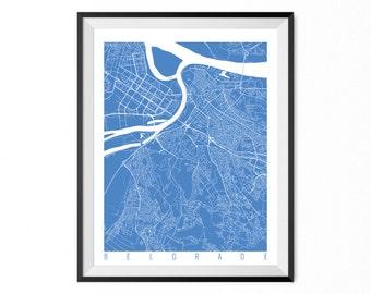 BELGRADE Map Art Print / Serbia Poster / Belgrade Wall Art Decor / Choose Size and Color