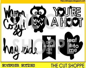 The November Notions cut file includes 6 Fall themed icons, that can be used on your scrapbooking and papercrafting projects.