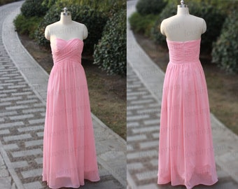100% Handmade Pleat Chiffon Prom Dress,Long Pink Prom Dress,Formal Women Evening Dress/Pink Party Dress/Bridesmaid Dress